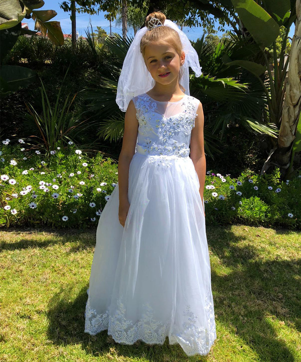 0c00c915a7bc AbaoWedding Flower Girl Dress Vintage Lace First Communion Ball Gown