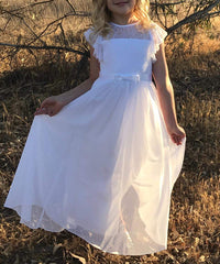 AbaoWedding Puff Sleeves Kids Lace Chiffon Boho First Communion Flower Girl Dress