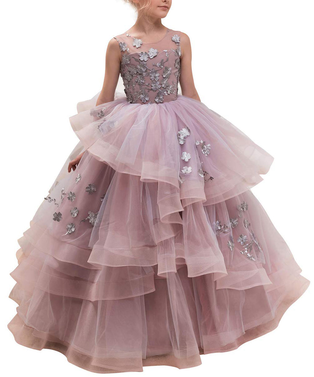 617901fa37 AbaoWedding Ball Gown Pageant Embroidery Princess Puffy Tulle Flower Girls  Dress ...