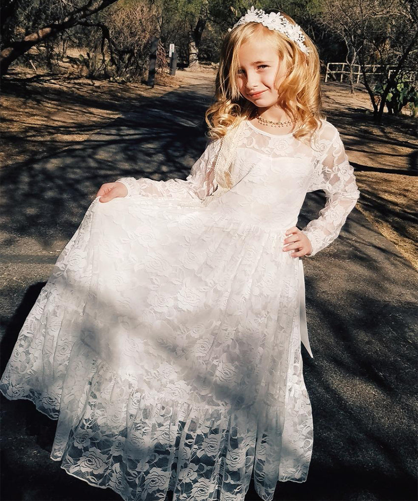 AbaoWedding Fancy Ivory White Lace Boho Rustic Flower Girl Dress 2-12 Year Old