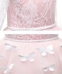 AbaoWedding Lovely First Communion Dress Long Sleeves Pink Prom Gown - AbaoWedding