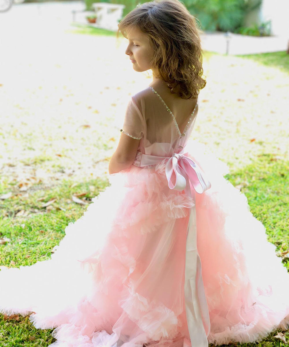 AbaoWedding Stunning Embroidery Ruffles V-Back Pageant Tulle Ball Gowns for Girls