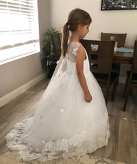 AbaoWedding Lace Flower Girls Dresses Kids First Communion Dress Princess Wedding Pageant Ball Gown