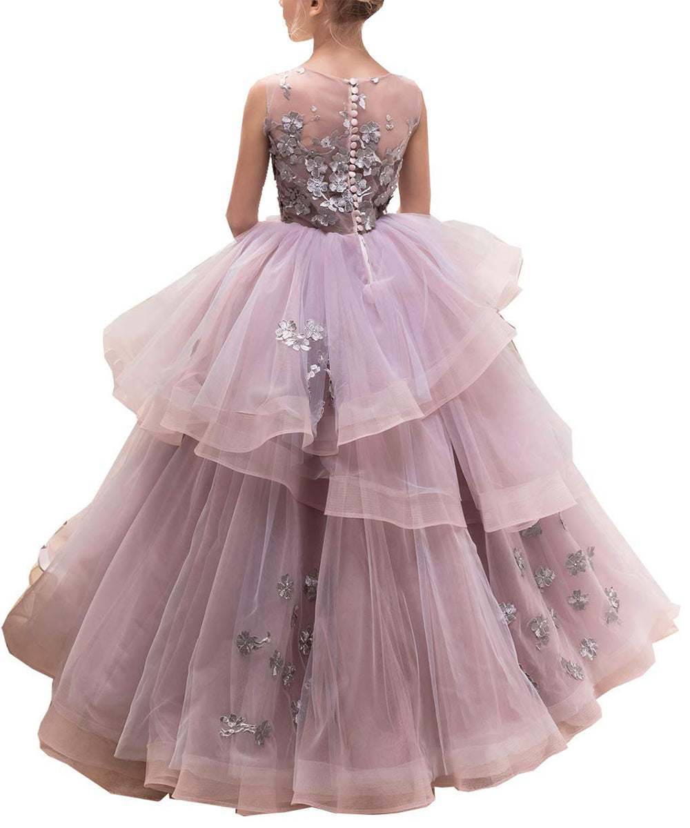 AbaoWedding Ball Gown Pageant Embroidery Princess Puffy Tulle Flower Girls Dress