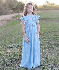 AbaoWedding Fancy Chiffon Flutter Sleeves Flower Girl Dresses