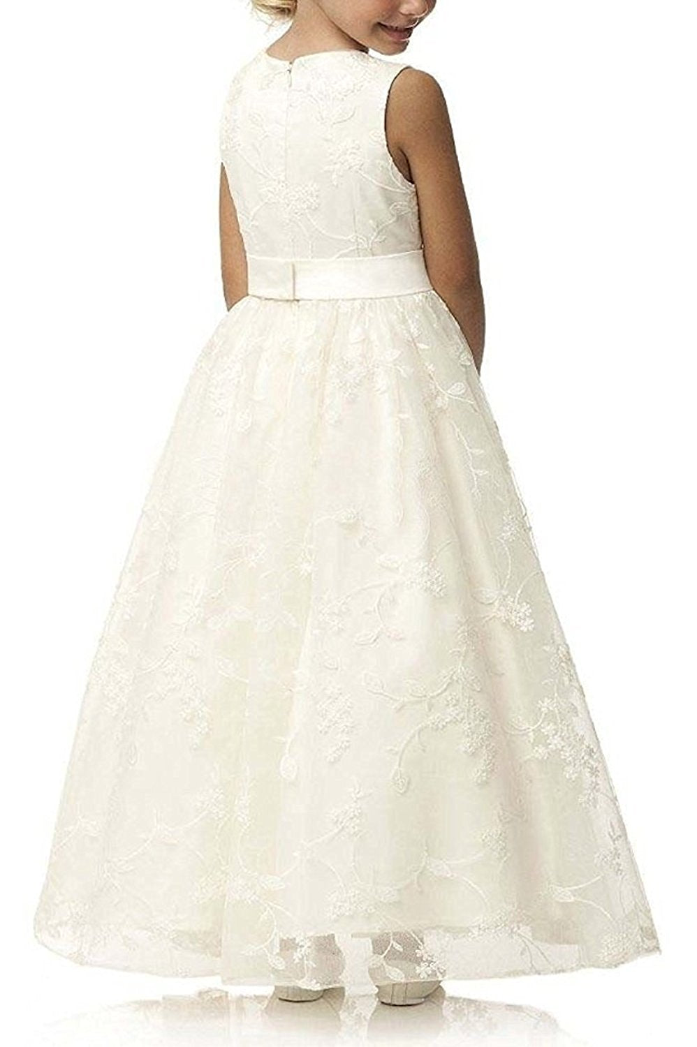 74a4adb952 ... AbaoWedding A line Wedding Pageant Lace Flower Girl Dress with Belt  2-12 Year Old