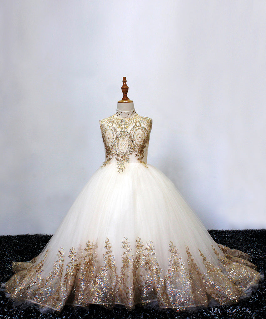 AbaoWedding Champagne Luxurious Beading Lace Flower Girl Ball Gown Dress