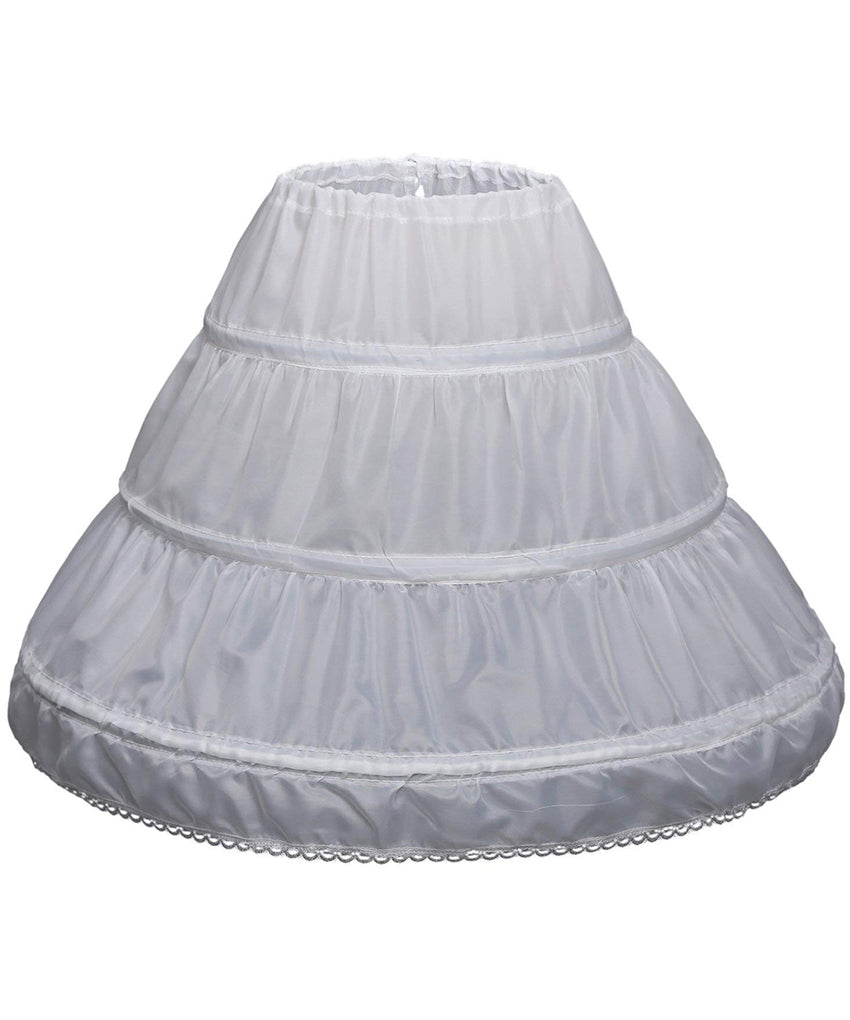 AbaoWedding Girls' 3 Hoops Petticoat Full Slip Flower Girl Crinoline Skirt - AbaoWedding