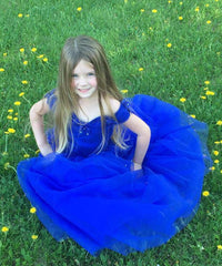 AbaoWedding Girls Blue Prom Puffy Tulle Princess Ball Gowns Kids Pageant Flower Girls Dresses - AbaoWedding