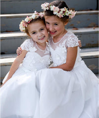 AbaoWedding Lace Chiffon Flower Girl A-line Dress Kids White Holy Communion Gowns