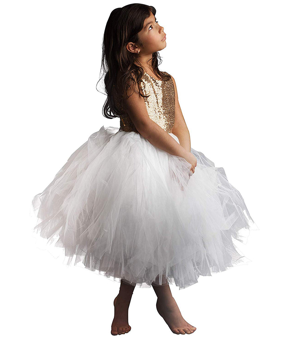 AbaoWedding Sequin Flower Girl Sleeveless Princess Birthday paty Dress
