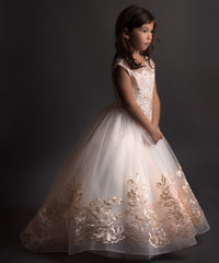 AbaoWedding Champagne Prom Lace Princess Ball Gowns Kids Pageant Flower Girls Dresses