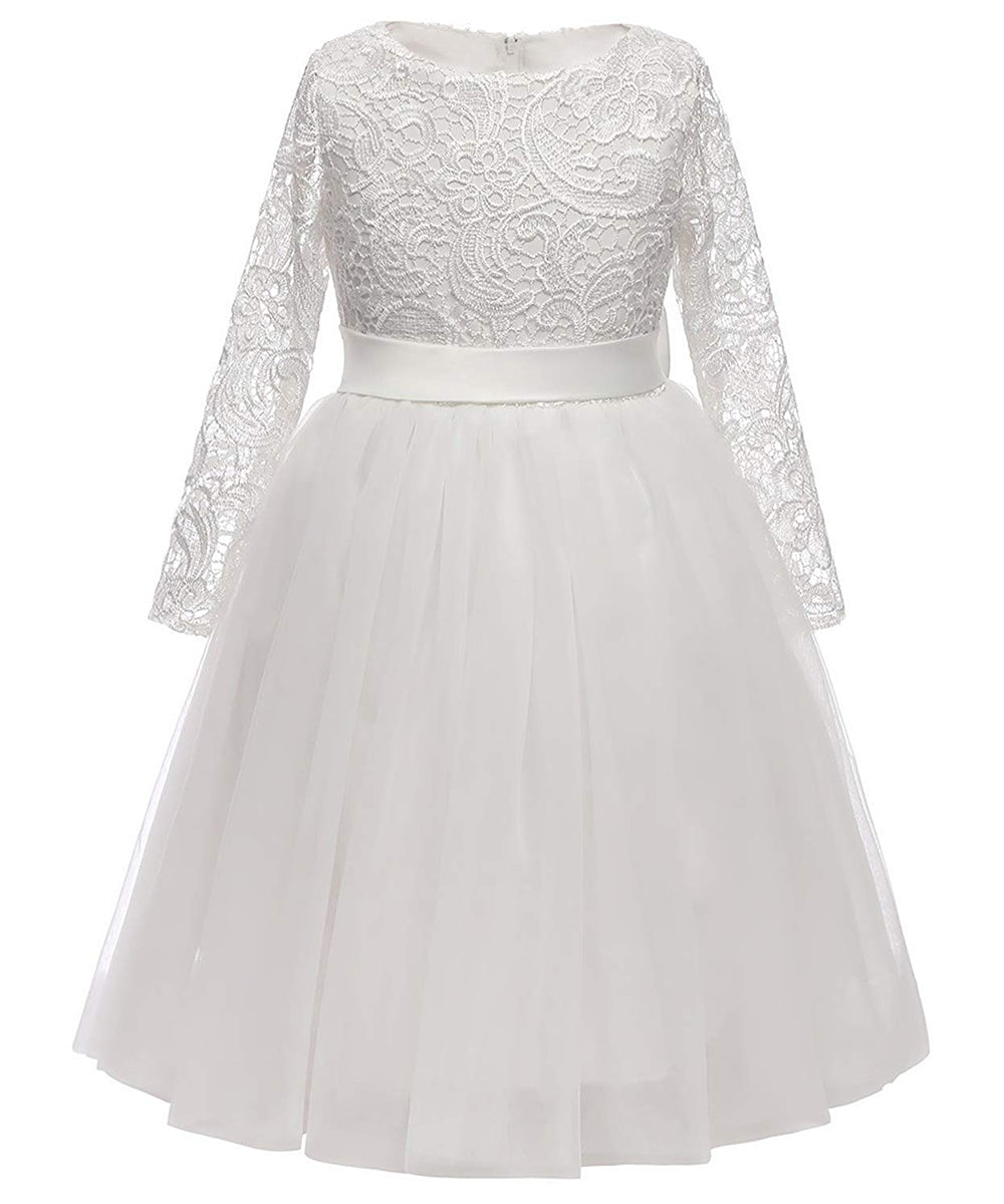47888c5a6ea AbaoWedding Flower Girl Dress Long Sleeves Lace Top Tulle Skirt Kids First  Communion Gowns