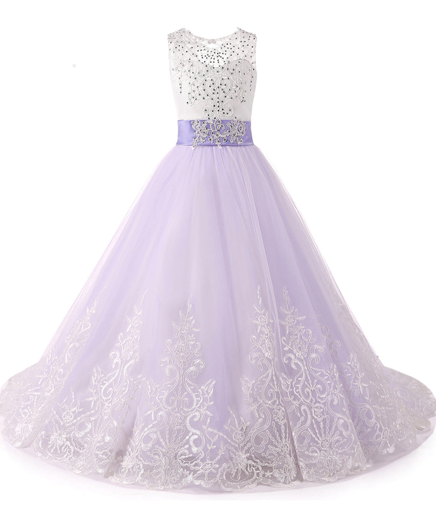 AbaoWedding Princess Lilac Long Girls Pageant Dresses Kids Prom Puffy Tulle Lace Beaded Ball Gown - AbaoWedding