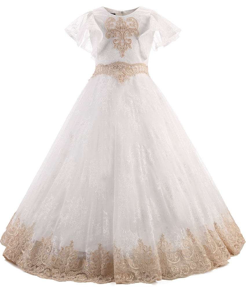 AbaoWedding Champagne Flower Girls Lace Applique Ball Gowns First Communion Dress Kids Pageant Dress - AbaoWedding