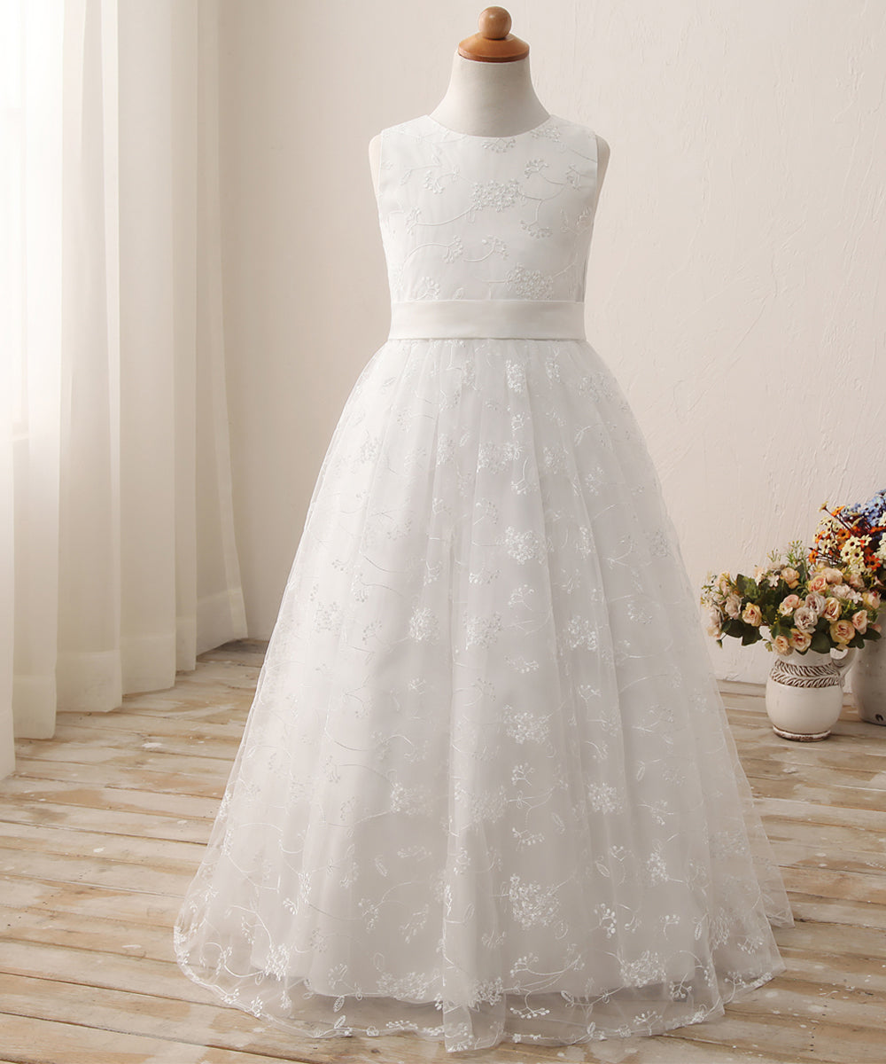 AbaoWedding A line Wedding Pageant Lace Flower Girl Dress with Belt 2-12 Year Old - AbaoWedding