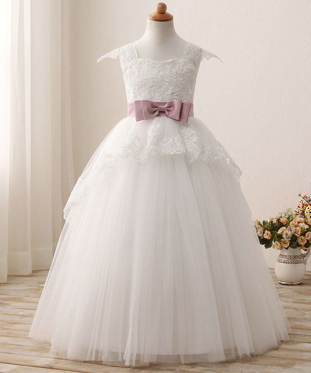 61604e667d7 AbaoWedding Elegant Lace Appliques Cap Sleeves Tulle Flower Girl Dress  White Ivory 1-12 Year Old