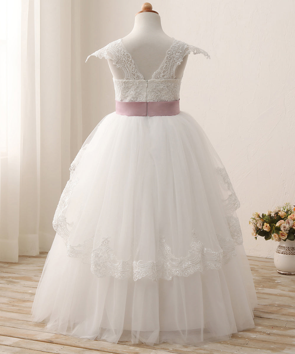 AbaoWedding Elegant Lace Appliques Cap Sleeves Tulle Flower Girl Dress White Ivory 1-12 Year Old - AbaoWedding
