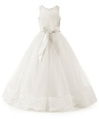 AbaoWedding Flower Girl Dress Floral Appliques Sleeveless Fluffy Kids Ball Gown Pink White Ivory