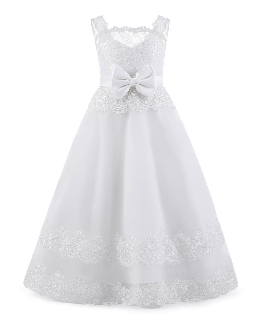 AbaoWedding Ball Gown Lace up Flower Holy First Communion Girl Tulle Lace Dresses 1-12 Year Old - AbaoWedding