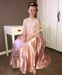 AbaoWedding Fancy Flower Girl Dress Button Draped Long Kids Tulle Ball Gowns