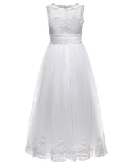 AbaoWedding Lace Embellished A-Line Sleeveless Girls Wedding Party Dresses - AbaoWedding