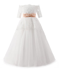 AbaoWedding Elegant Flower Girl Lace Beading First Communion Dress 2-12 Years Old - AbaoWedding