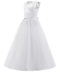 ABaoWedding Vintage Princess Ball Gown Lace up Flower First Communion Girl Dresses White Ivory - AbaoWedding