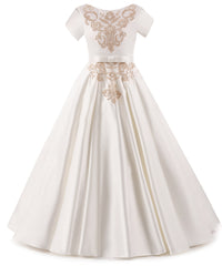 AbaoWedding Elegant Holy Satin First Communion Dresses Birthday Parties Flower Girls Dress 2-12 Year Old - AbaoWedding