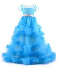 AbaoWedding Stunning Embroidery Ruffles V-Back Luxury Pageant Tulle Ball Gowns for Girls 2-12 Year Old - AbaoWedding