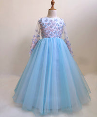 AbaoWedding 3D Flowers Prom Puffy Tulle Princess Ball Gowns Kids Pageant Flower Girls Dresses