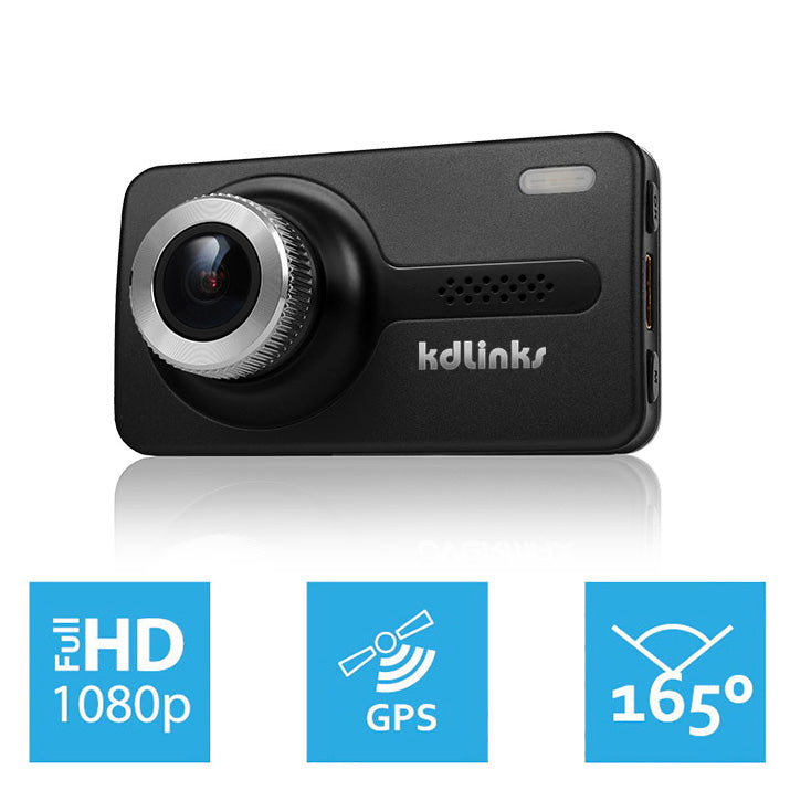KDLINKS X1 GPS ENABLED FULL HD 165 DEGREE WIDE ANGLE DASH CAM W/ GRAVITY SENSOR, WDR SUPERIOR NIGHT MODEL - KDLINKS Electronics