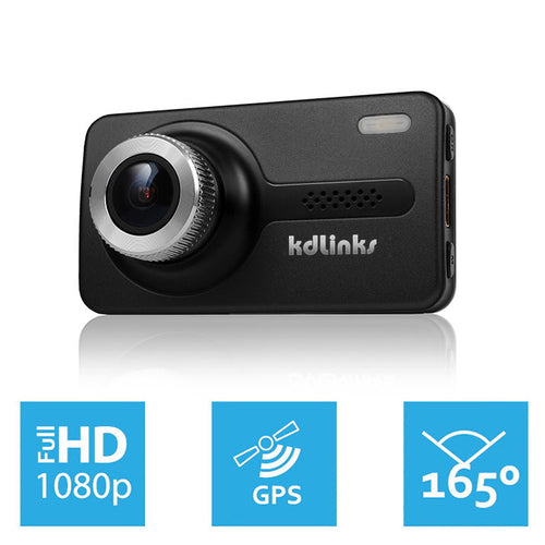 KDLINKS X1 GPS ENABLED FULL HD 1920*1080 165 DEGREE WIDE ANGLE DASHBOARD CAMERA RECORDER CAR DASH CAM WITH GRAVITY SENSOR, WDR SUPERIOR NIGHT MODEL - KDLINKS Electronics