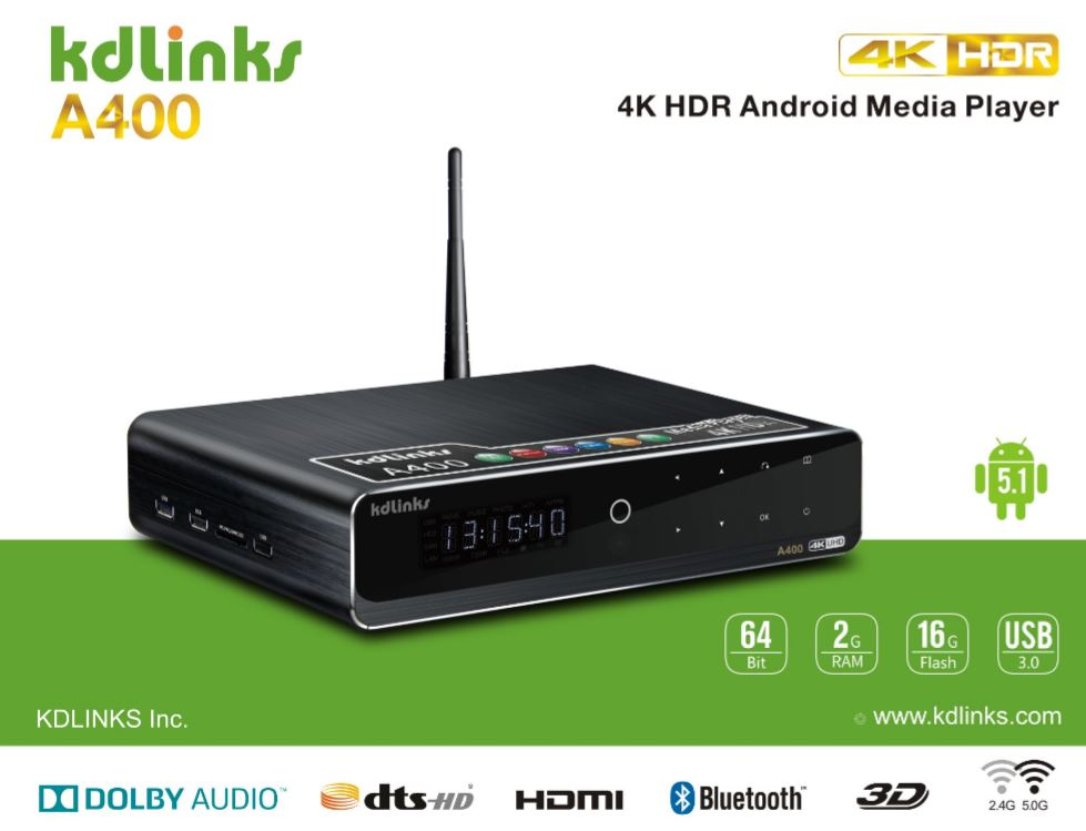 KDLINKS A400 4K ANDROID QUAD CORE 3D SMART H.265 HD TV MEDIA PLAYER WITH HDD BAY, WIFI, DOLBY 7.1, GIGABIT LAN, 2GB RAM, 16GB STORAGE, 4 CORE CPU, 8 CORE GPU - KDLINKS Electronics