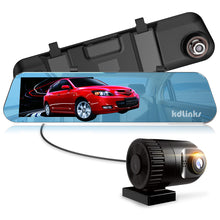 "Load image into Gallery viewer, KDLINKS® R100 ULTRA HD 1296P FRONT + 1080P REAR 280° SUPER WIDE ANGLE REARVIEW MIRROR CAR DASH CAM WITH IPS HD 5"" SCREEN, G-SENSOR & SUPERIOR NIGHT MODE, 1 YR DASHCAM WARRANTY, SUPPORT 64/128GB CARD - KDLINKS Electronics"