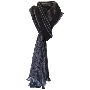 MILO - a handwoven scarf made from alpaca, wool and silk with light colour stipes in different widths.