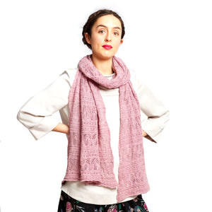 OLYMPIA - a long decorative alpaca scarf knitted in a lace pattern.