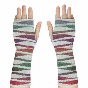 Pair of sonet wristwarmers, modern colourful design