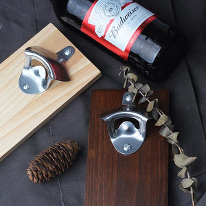 Magnetic Bottle Opener Wall Mount Fridge Magnet Beer Cap Catcher Kitchen Tool