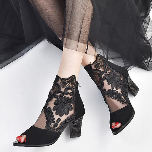 Stitching Lace High Heel Sandals