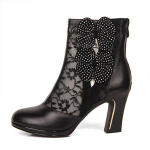 Real-leather Bow Lace High-heeled Boots