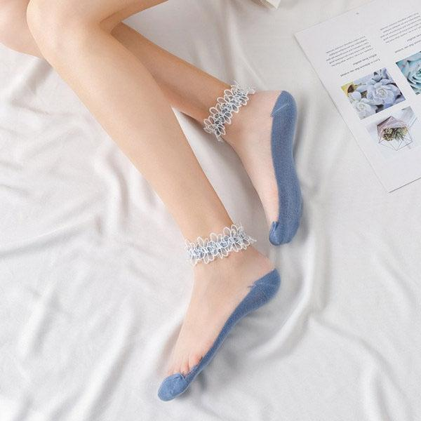Lace Crystal Silk Breathable Boat Socks