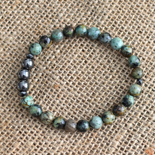 INCEPTION ~ AFRICAN TURQUOISE x HEMATITE BRACELETS - Shop Realign