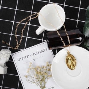 Virgin Mary Gold Coin Necklace - Shop Realign