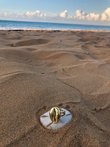 Nikki 2.0  Gold Cowrie Shell Ring - Shop Realign