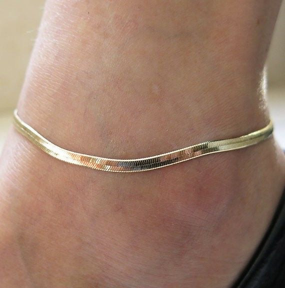 Gold Herringbone Anklet - Shop Realign