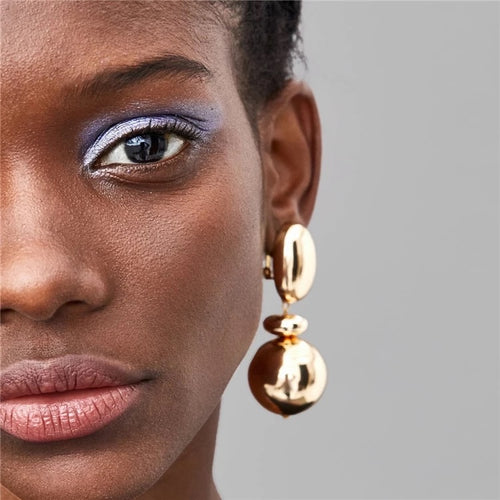 Bianca Ball Gold Drop Earrings - Shop Realign