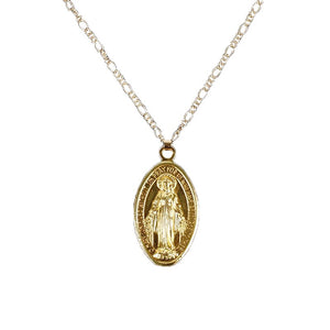 Virgin Mary 14k  Coin Necklace - Shop Realign