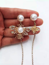 Queen Bee Pearl Stud Gold Drop Sparkling Earrings - Shop Realign