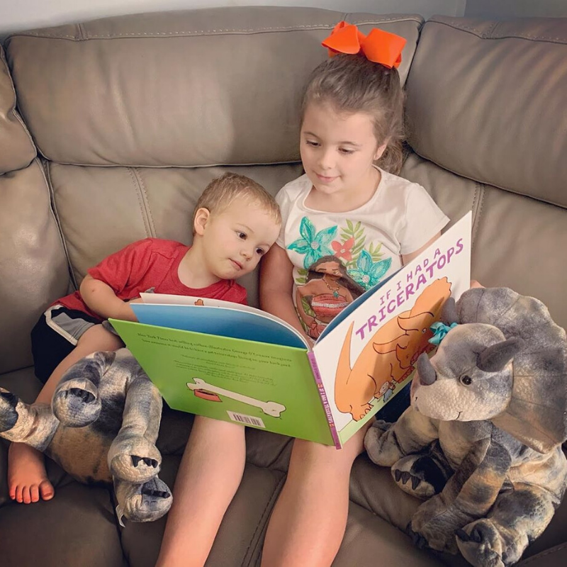 Big sister reading Triceratops book to little brother with Stuffed Plush Triceratops Dinosaurs from Book and Bear